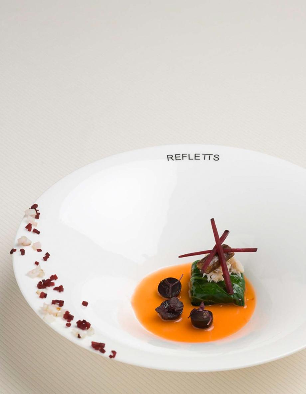 krabbepakke med blekksprut og rødbet